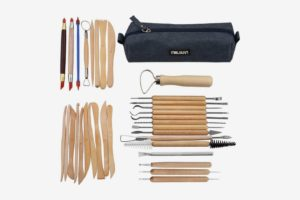 Meuxan 33-Piece Clay & Pottery Sculpting Tool Kit with Canvas Storage Case
